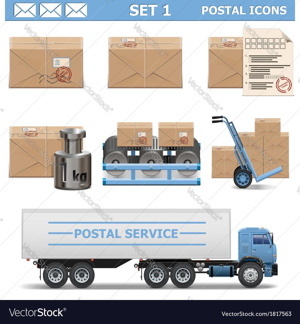 Postal icons set 1 vector
