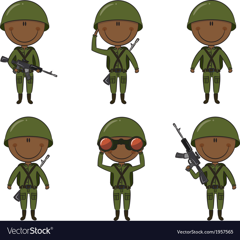 African-american soldiers vector