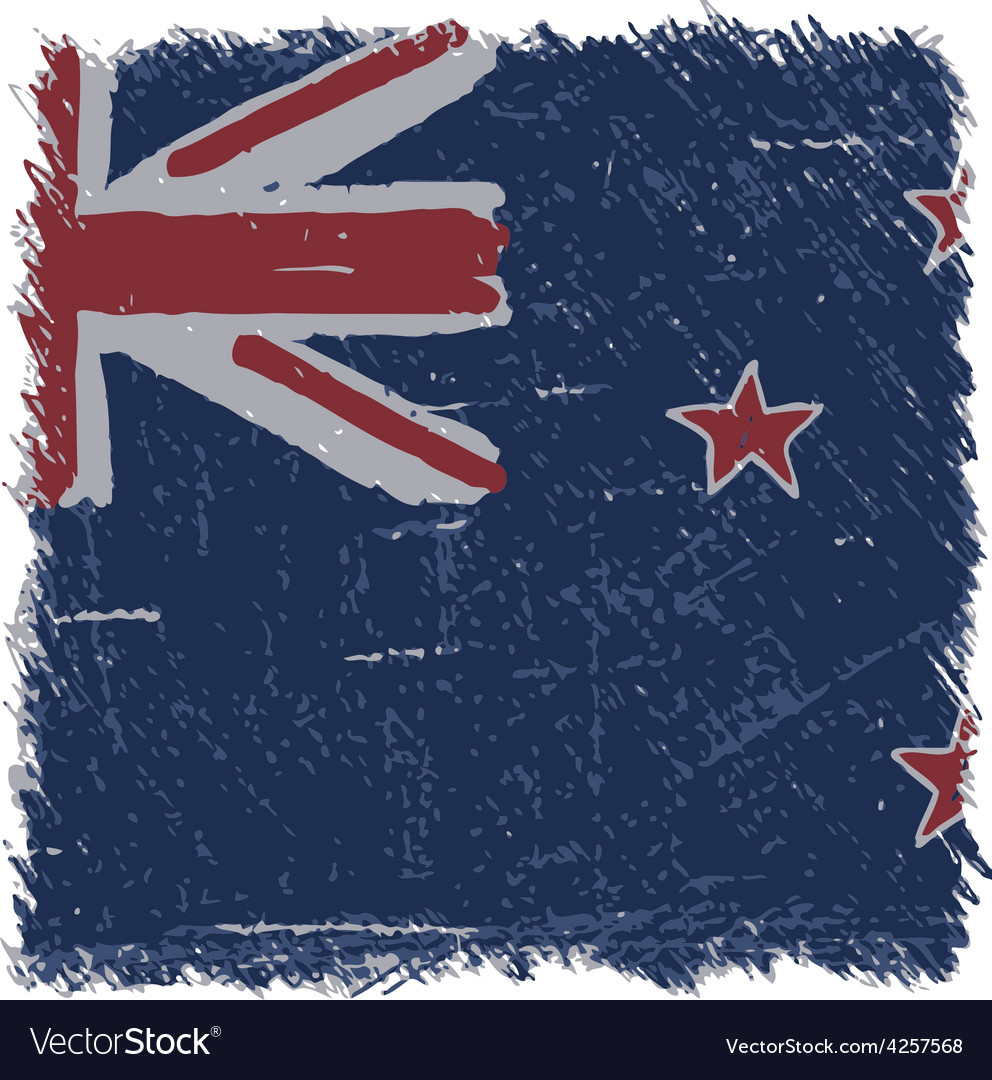 Flag of new zealand handmade square shape vector