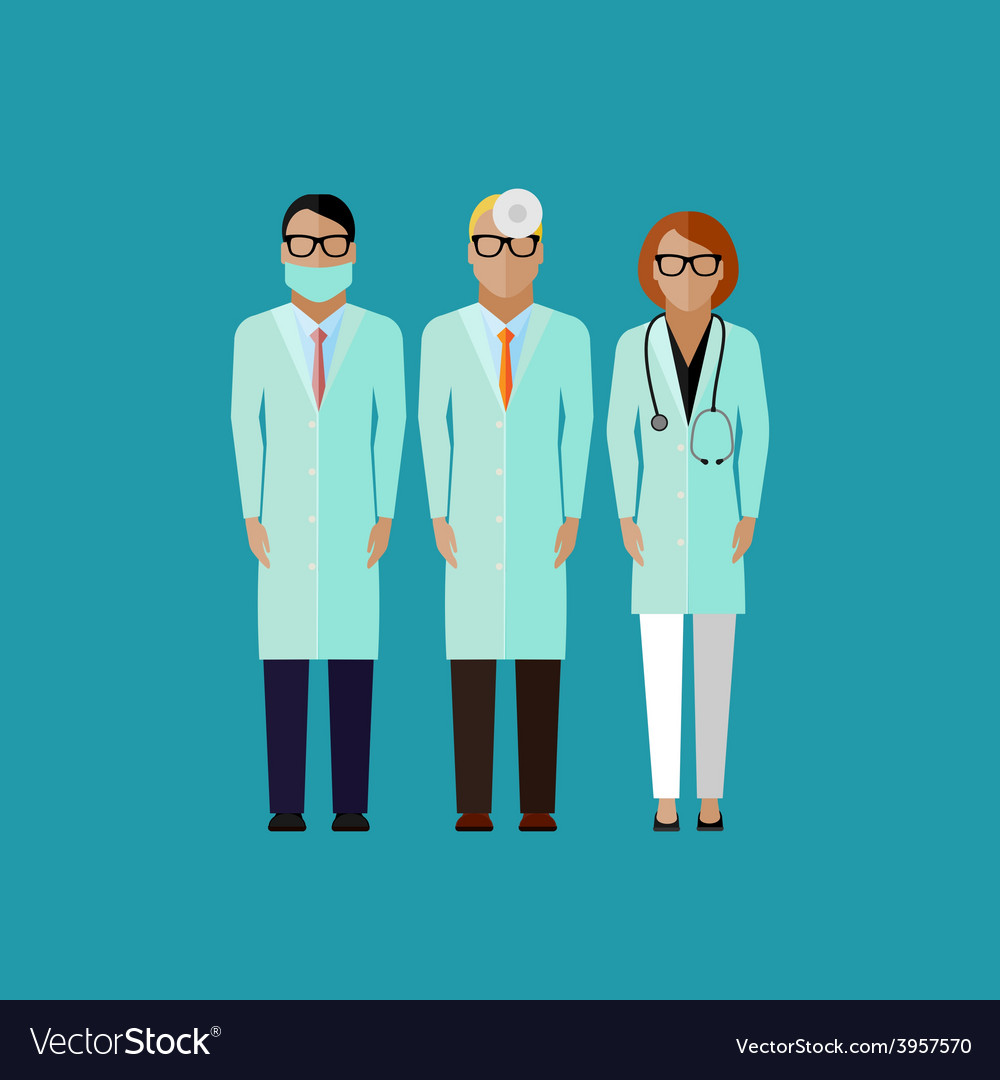 Flat of doctors medical and vector