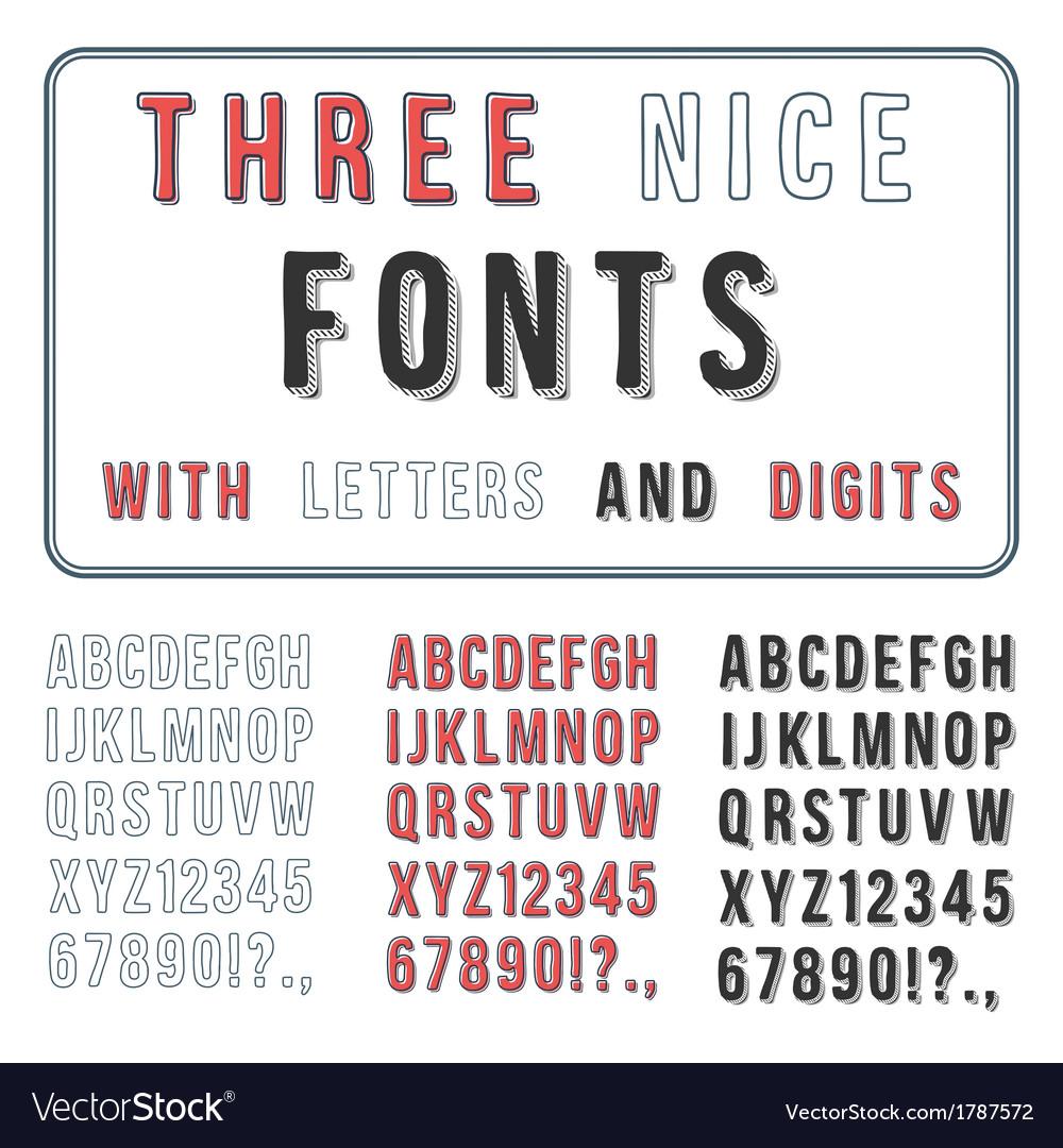 Hand drawn font set handwriting alphabet abc with vector