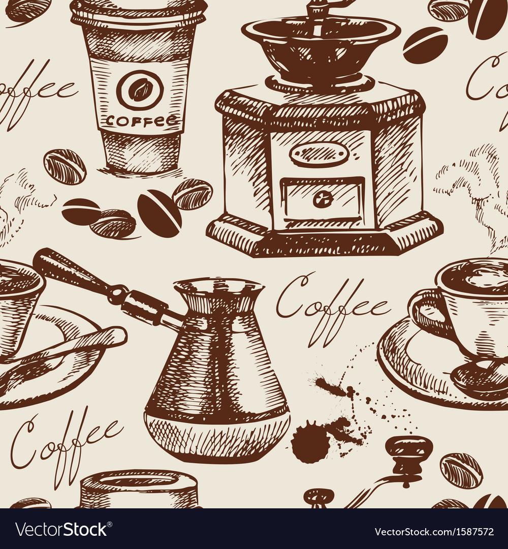 Hand drawn vintage coffee seamless pattern vector