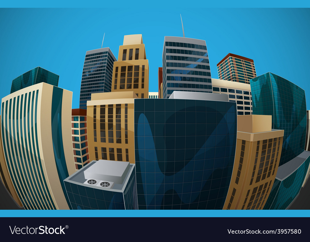 Fisheye lens cityscape view city vector