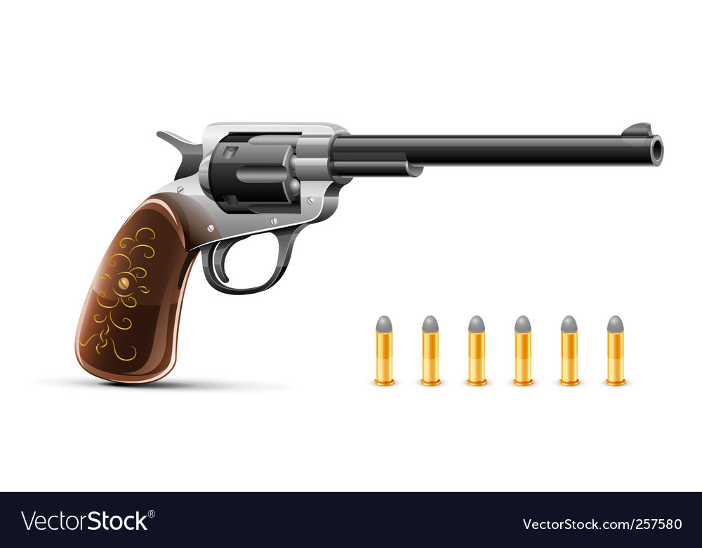 Gun revolver with bullet vector