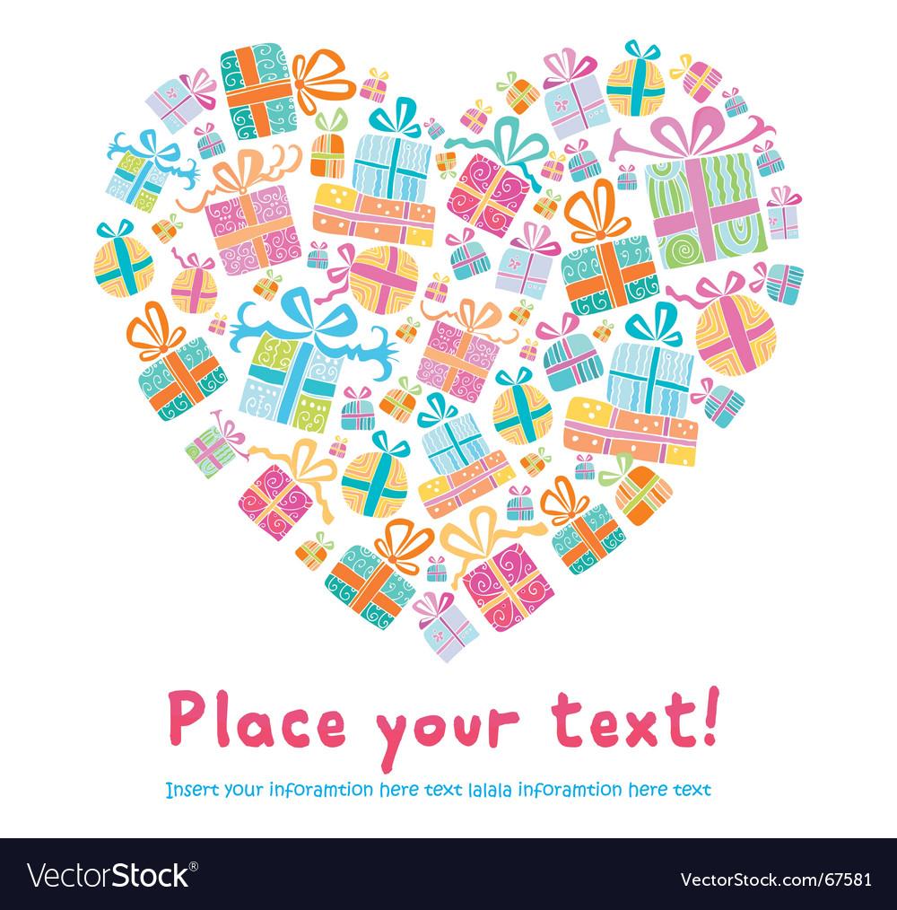 Gift heart vector