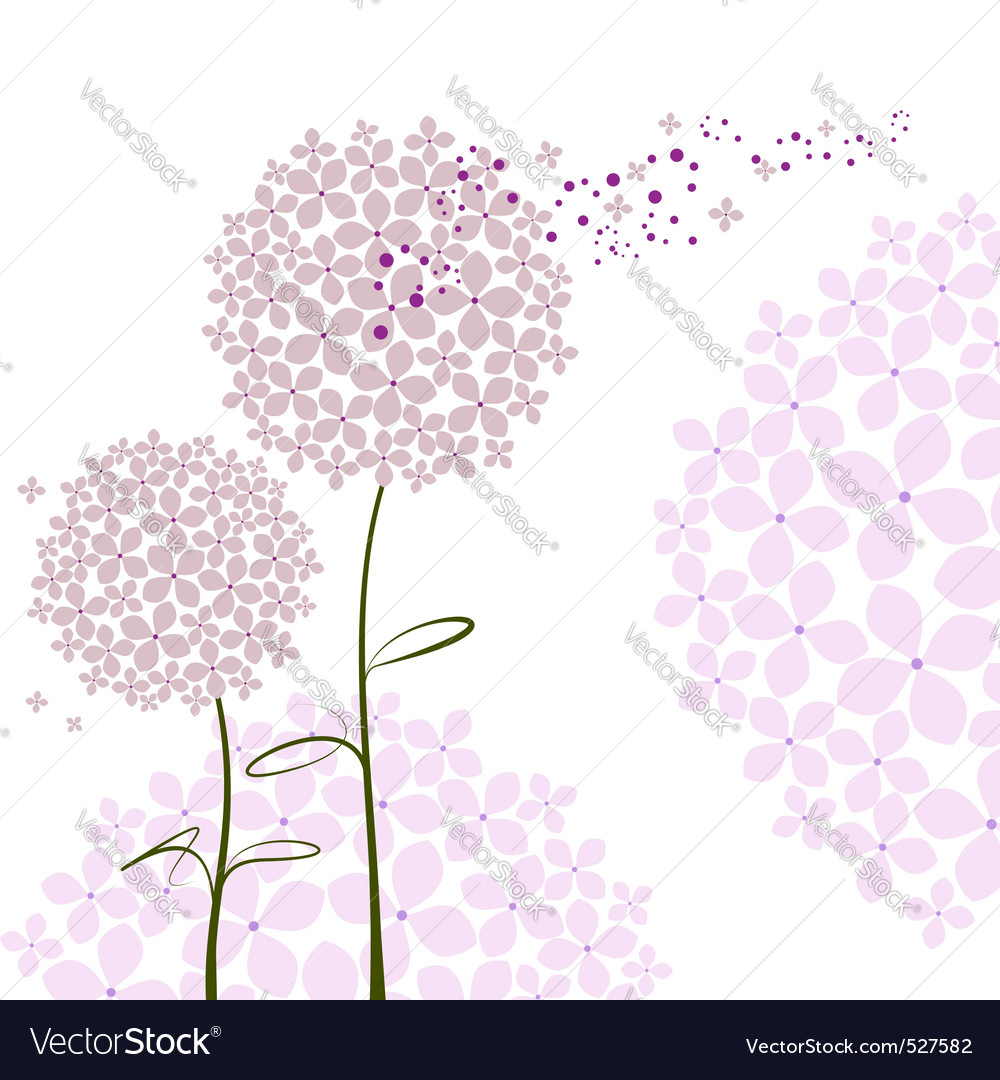 Abstract springtime purple hydrangea flower vector