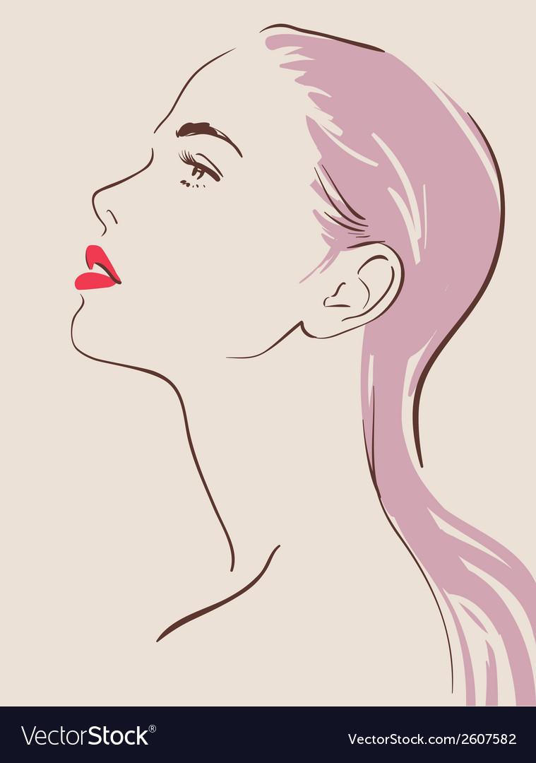 Beautiful woman face hand drawn vector
