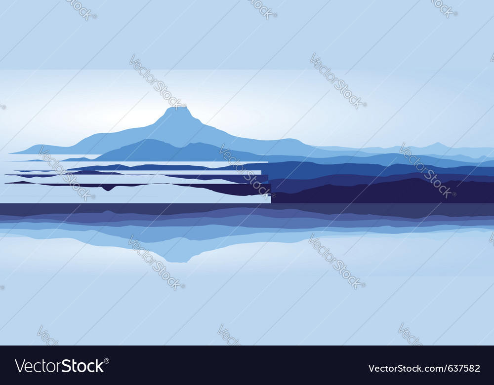 Blue mountains with lake vector