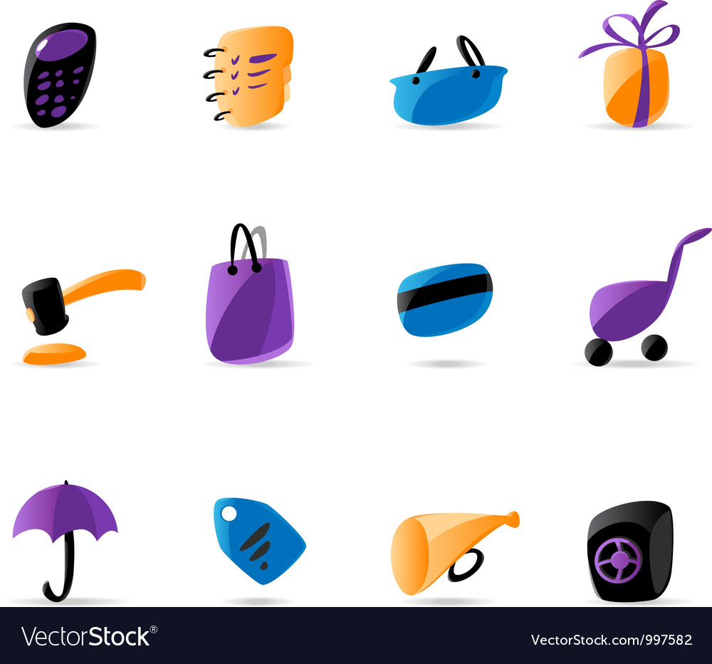 Bright finance and shopping icons vector