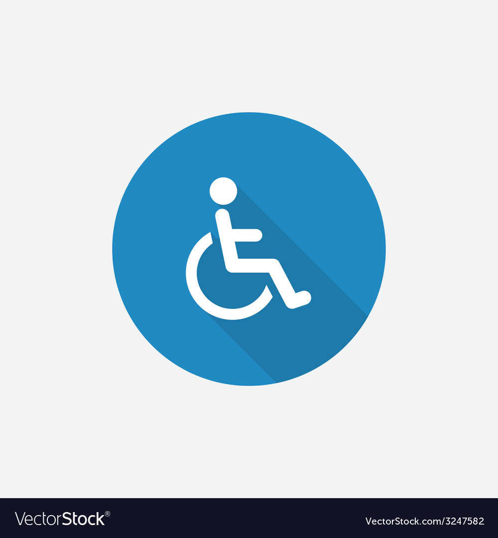Cripple flat blue simple icon with long shadow vector