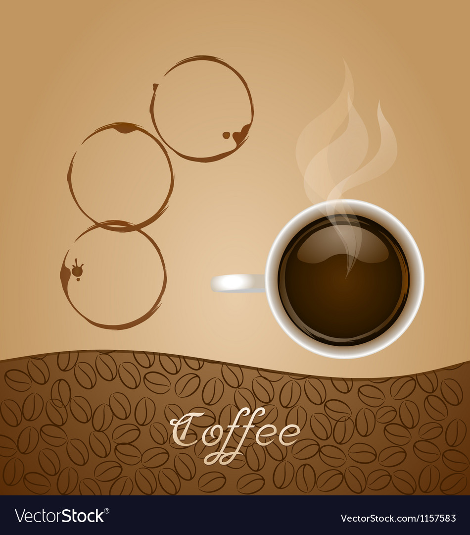 Coffee with stain on brown background vector