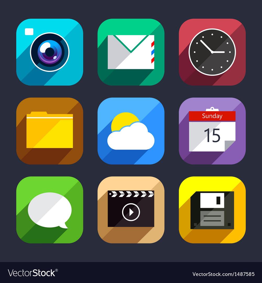 Flat app icons set vector