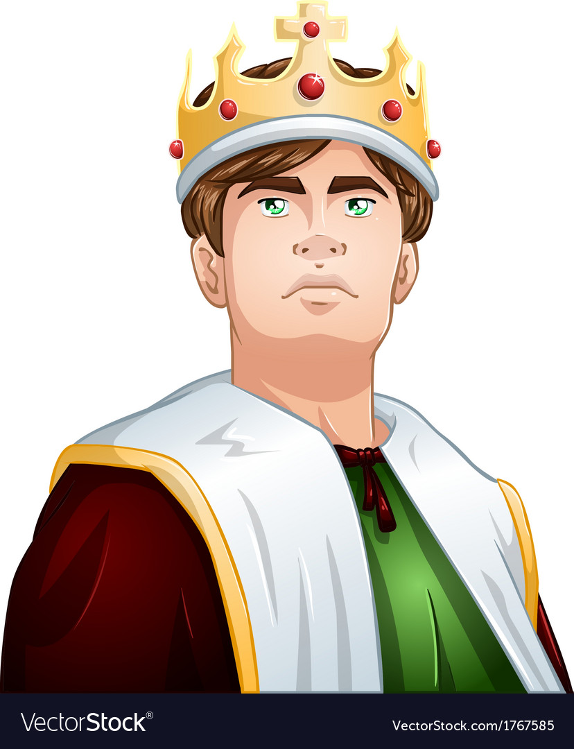 Young king with crown shoulders up vector