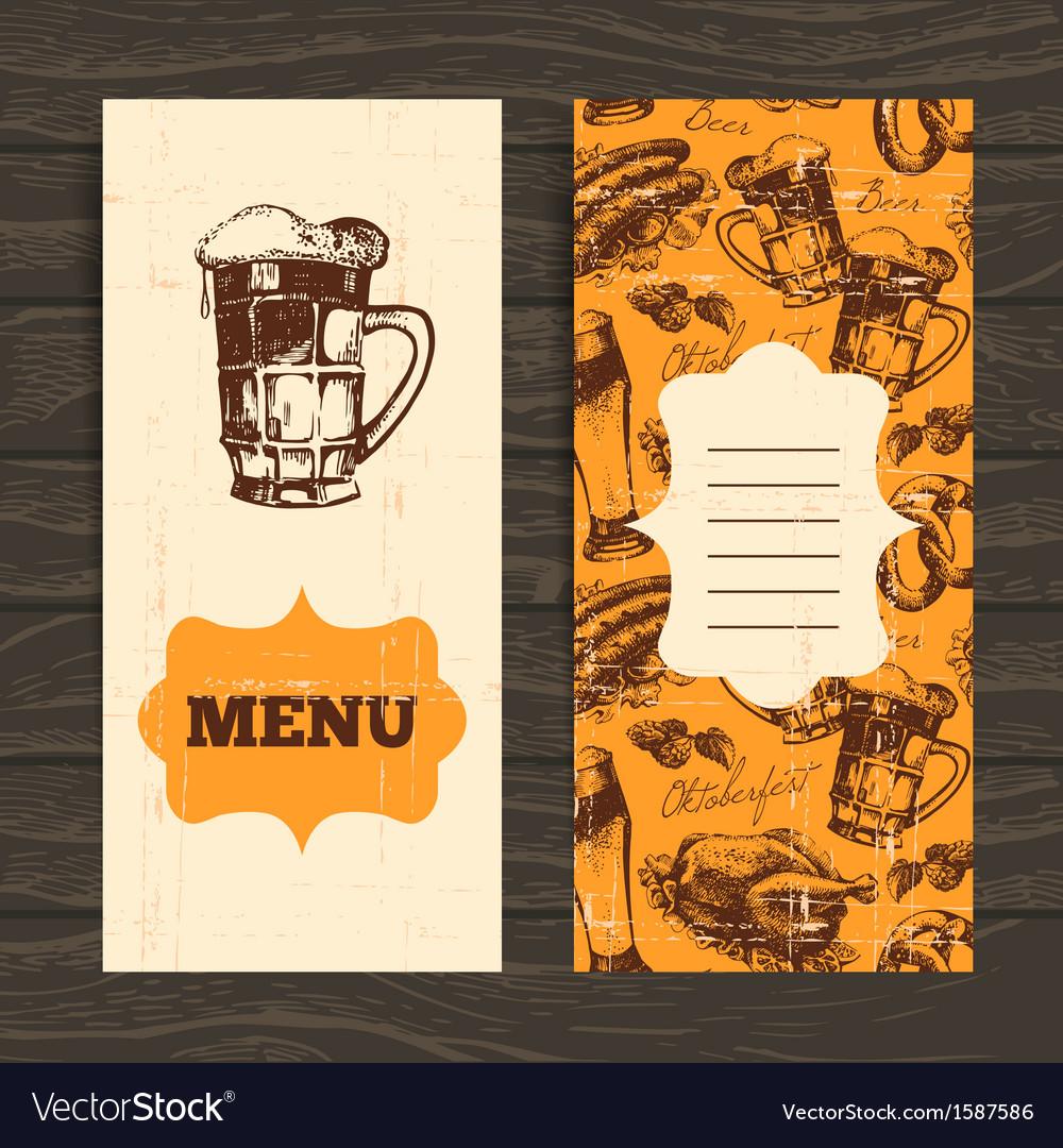 Menu for restaurant cafe bar oktoberfest vintage vector