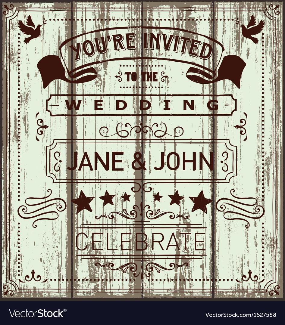 Vintage wooden wedding invitation vector