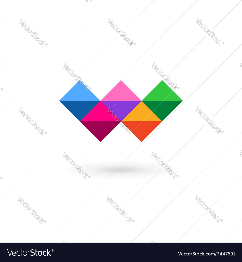 Letter w mosaic logo icon design template elements vector