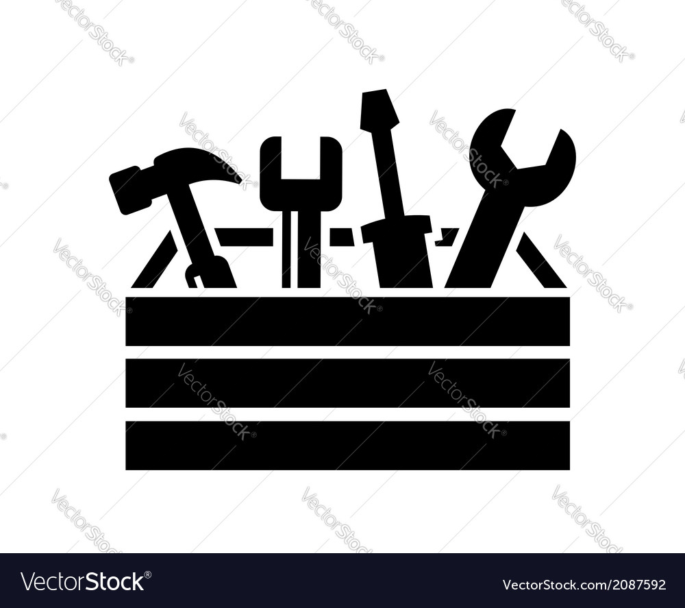 Toolbox with tools icon vector