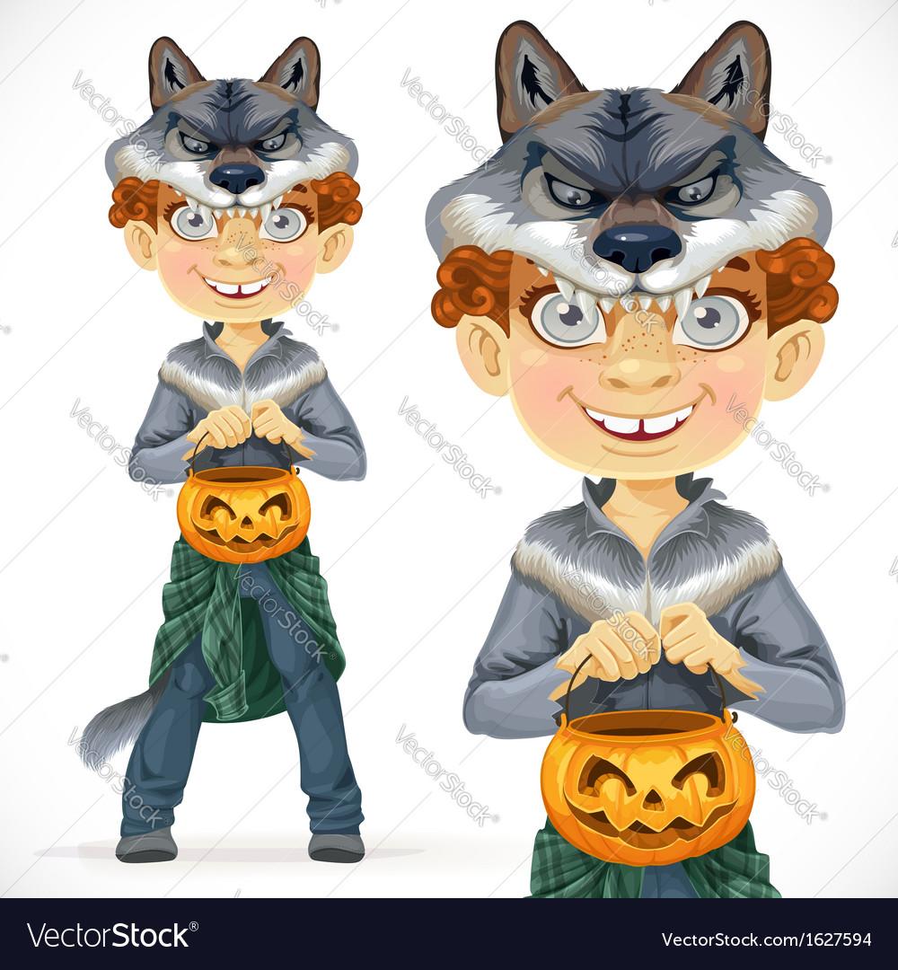 Cute boy dressed as a werewolf vector