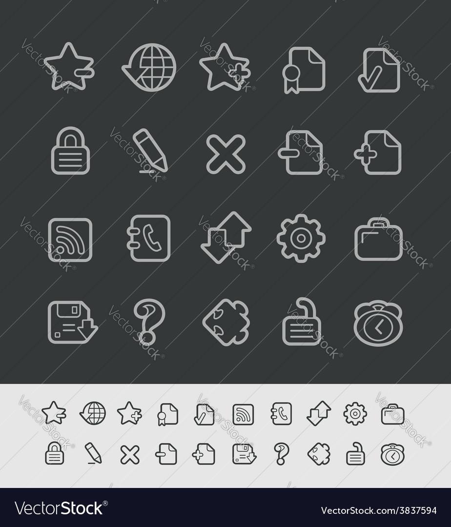 Web icons black line vector