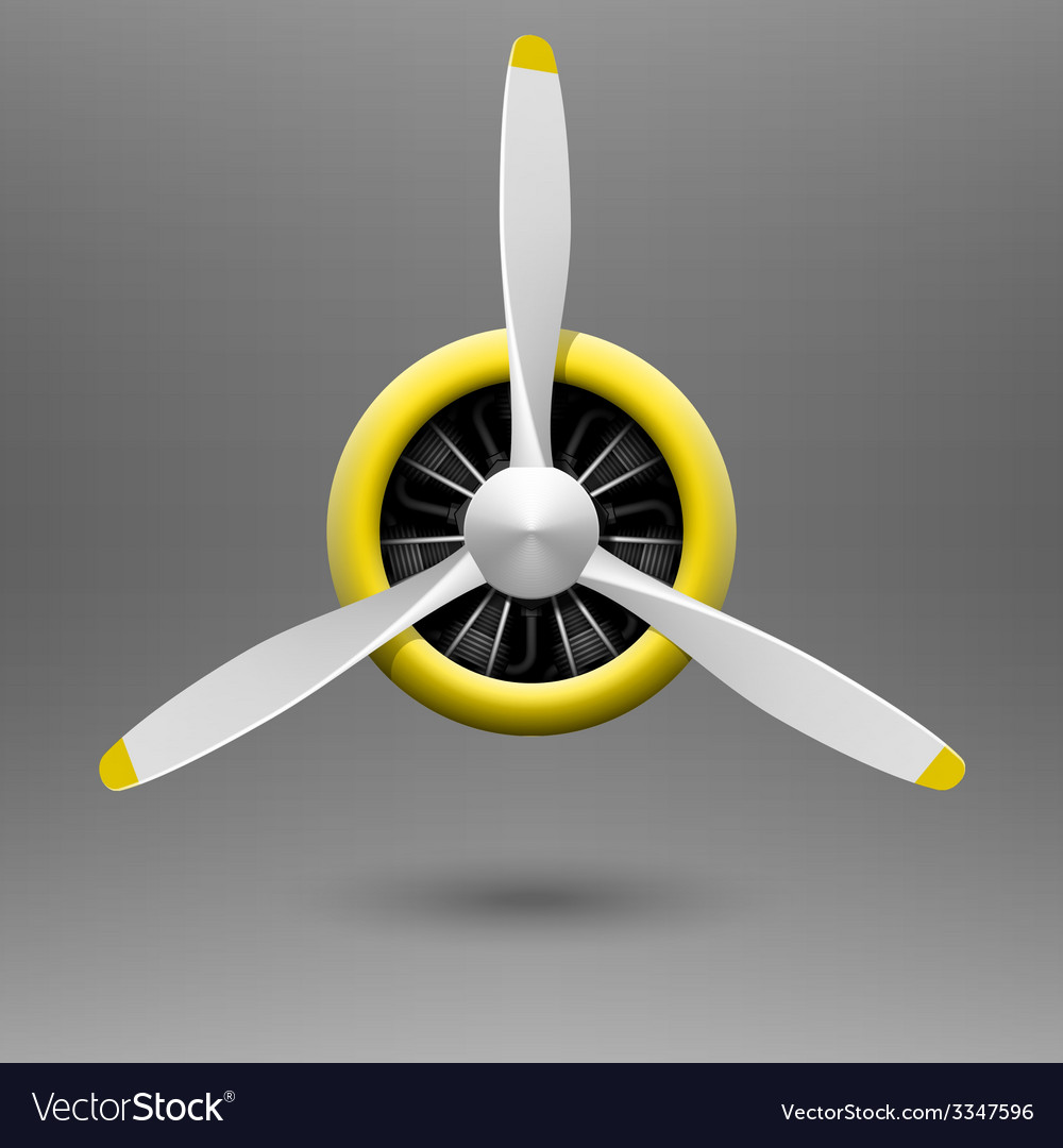 Vintage airplane propeller with radial engine vector