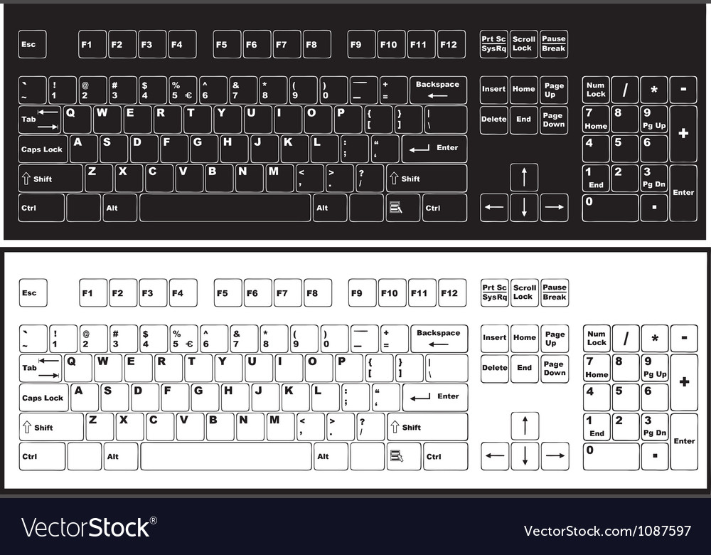 Black and white keyboard vector