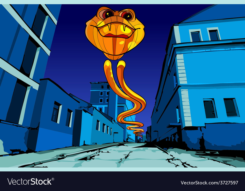 Flying fiery serpent on the night street vector