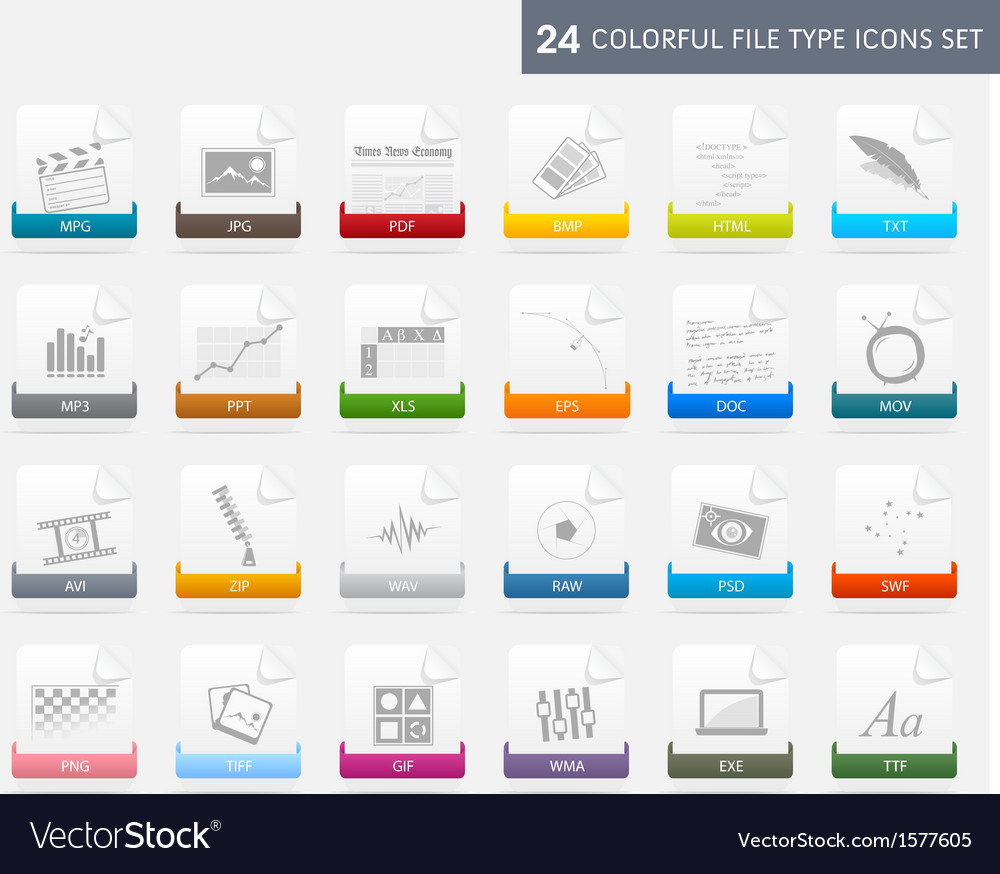 Design elements file type icons set vector