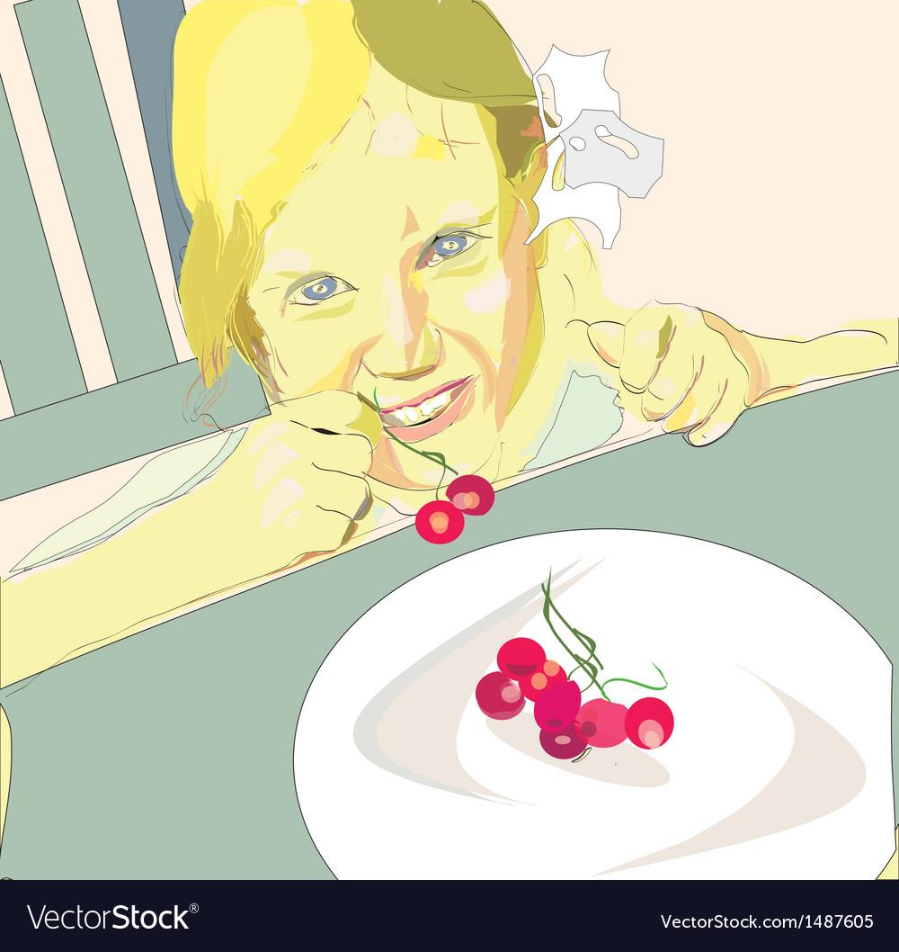 Girl eating cherry vector