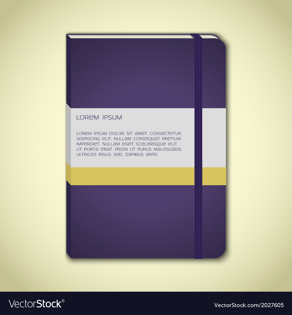 Violet notebook with bookmark vector