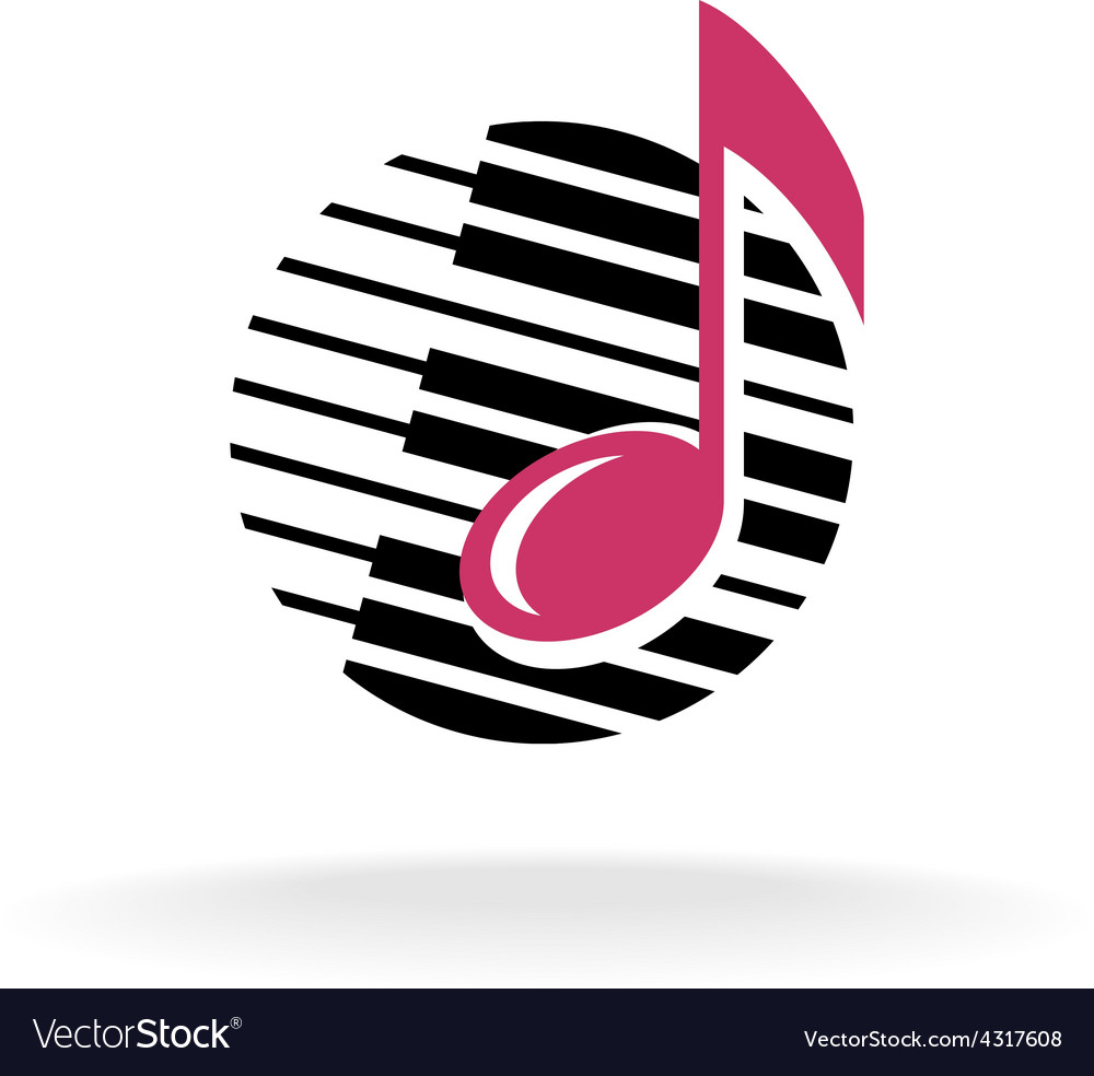 Note with piano keys logo vector