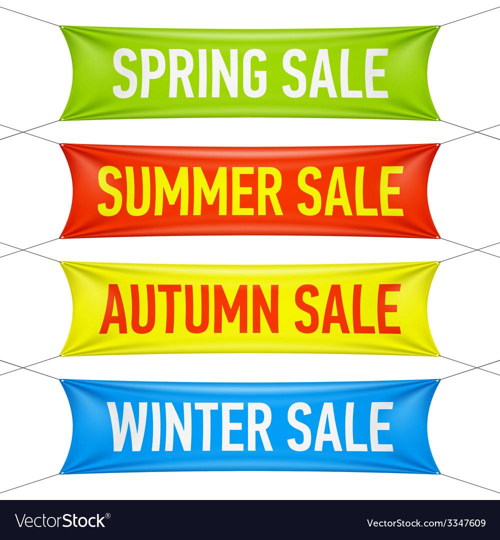Spring summer autumn winter sale banners vector