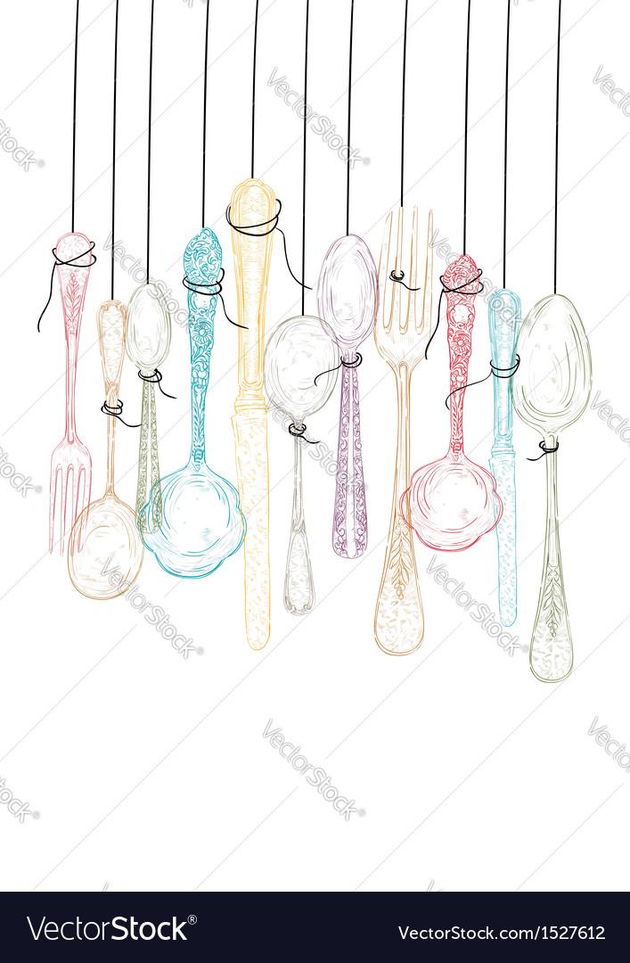 Hanging cutlery elements sketch vector
