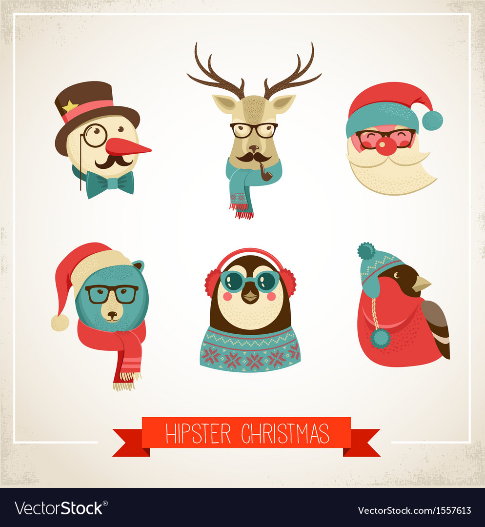 Christmas background with hipster animals vector