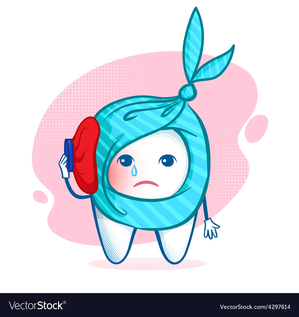 Tooth character with ice bag vector