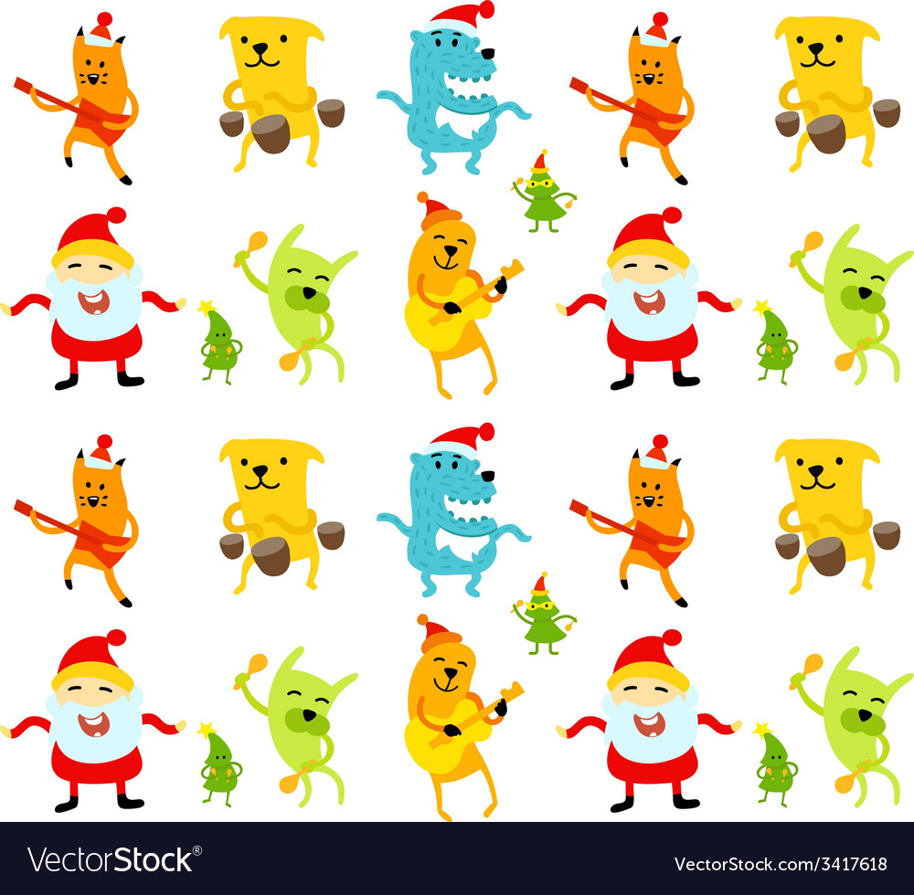 Funny new year musicians animals vector