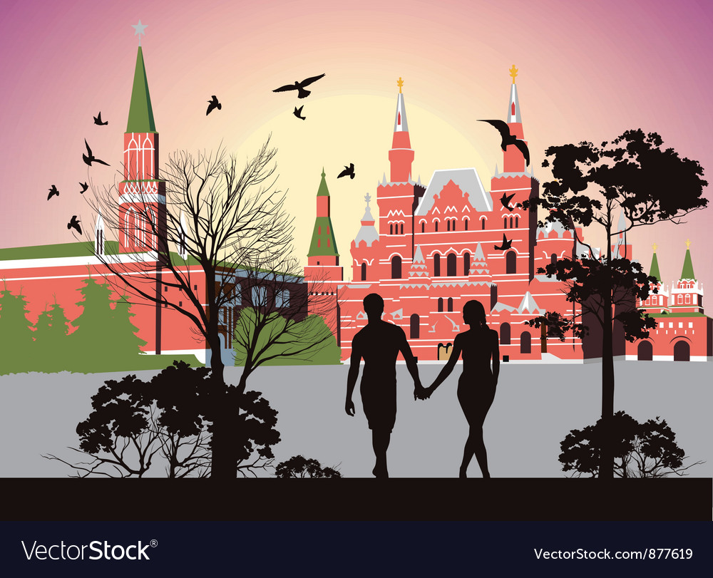 Boy and girl holding hands and walking in the red vector