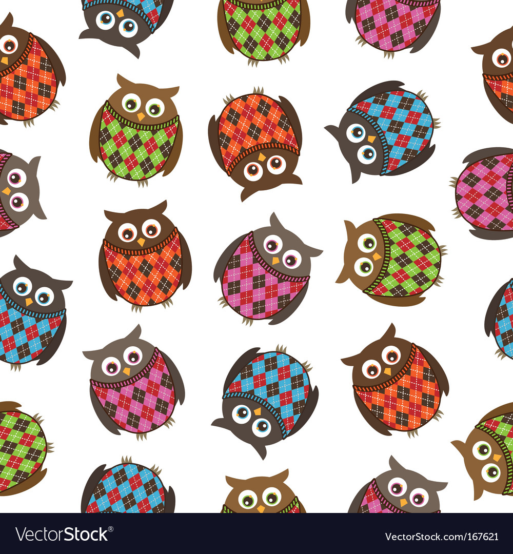 Harlequin owls vector