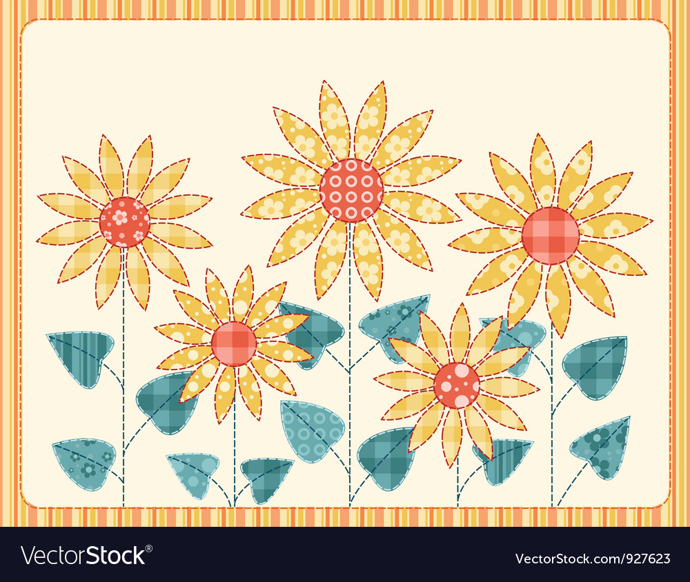 Patchwork sunflowers card vector
