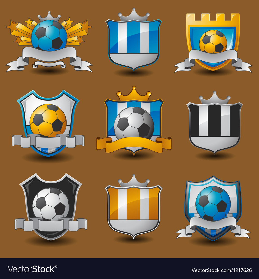 Soccer team emblems vector