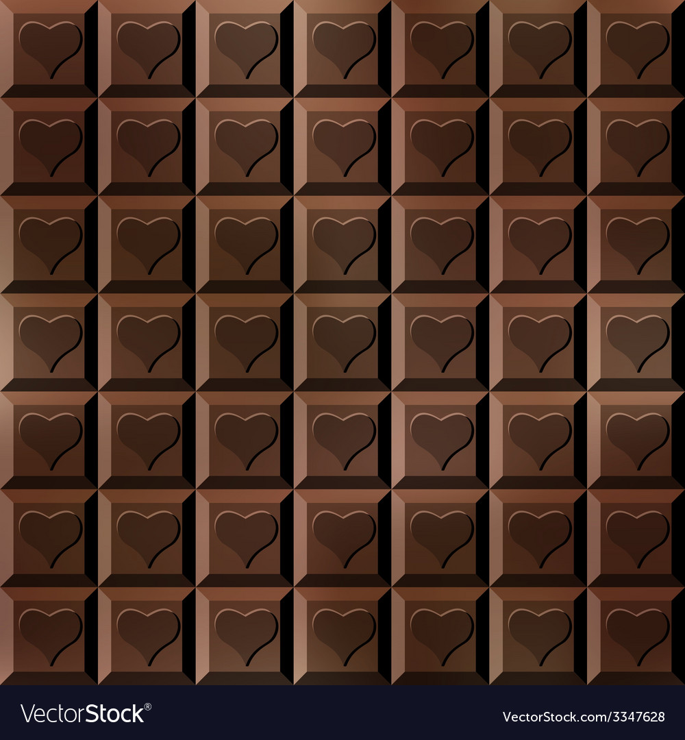 Seamless chocolate bar with hearts vector