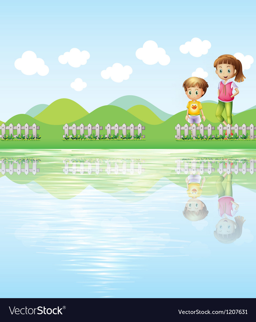 A boy and a girl watching the lake vector