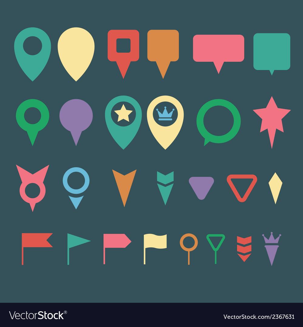 Flat map pins vector