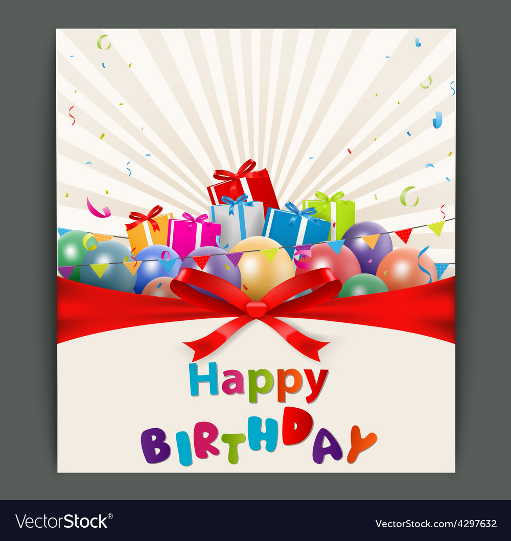 Birthday card with balloons and gift box vector