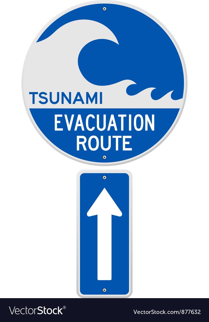 Tsunami evacuation route vector