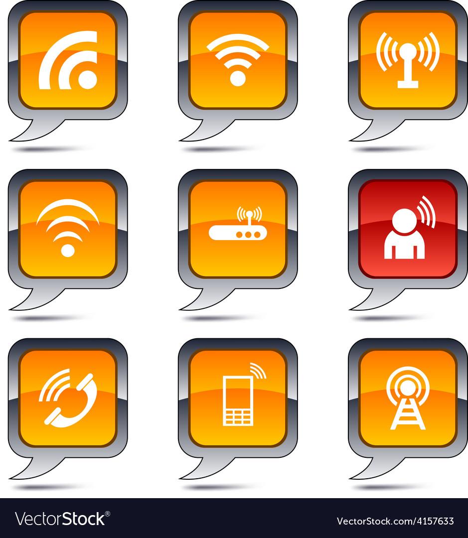 Communication balloon icons vector