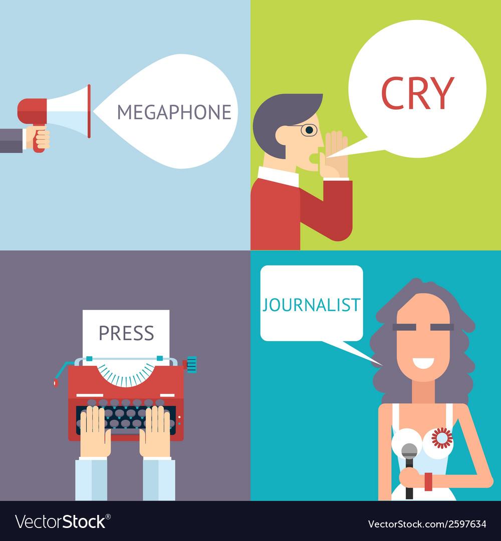 Mass media symbol megaphone speech bubble cry man vector