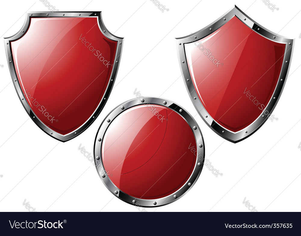 Set of red steel shields vector