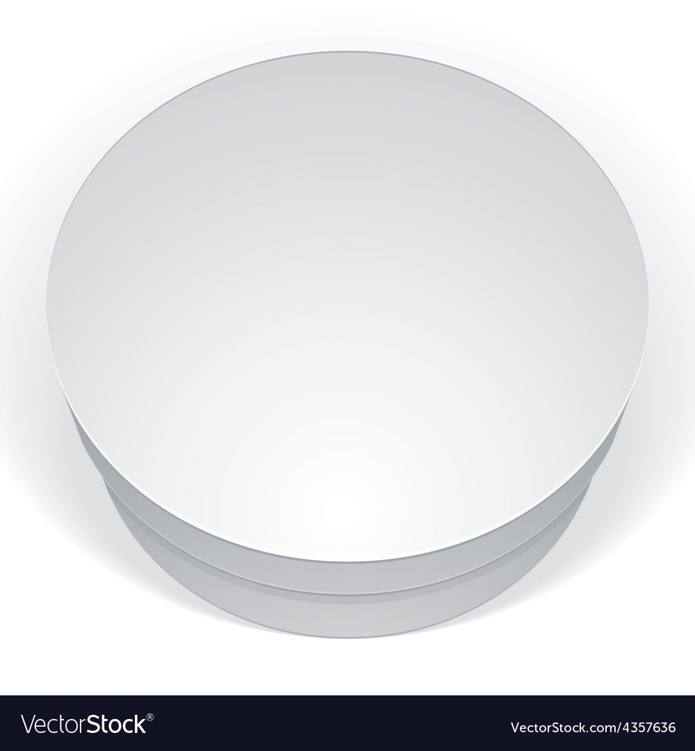 Realistic white round package box for products put vector