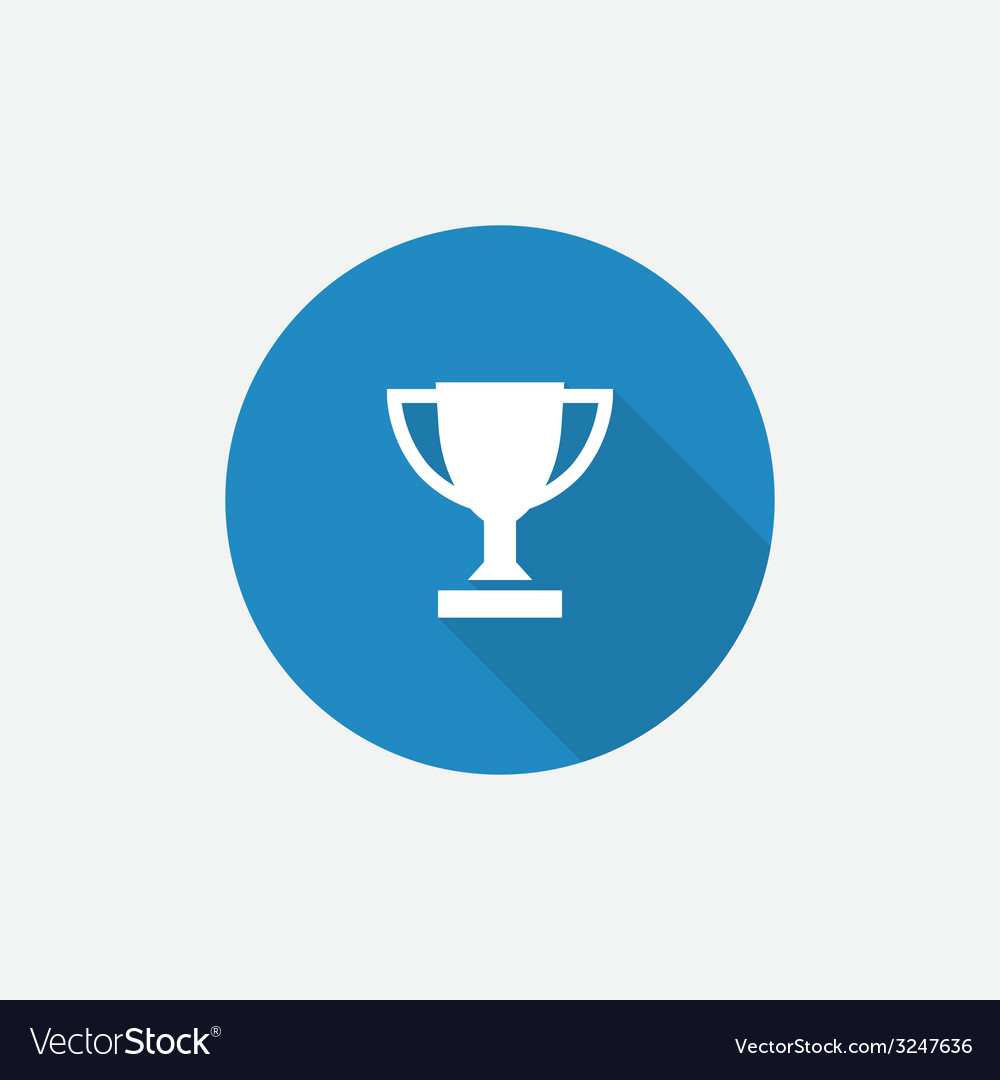 Winner cup flat blue simple icon with long shadow vector