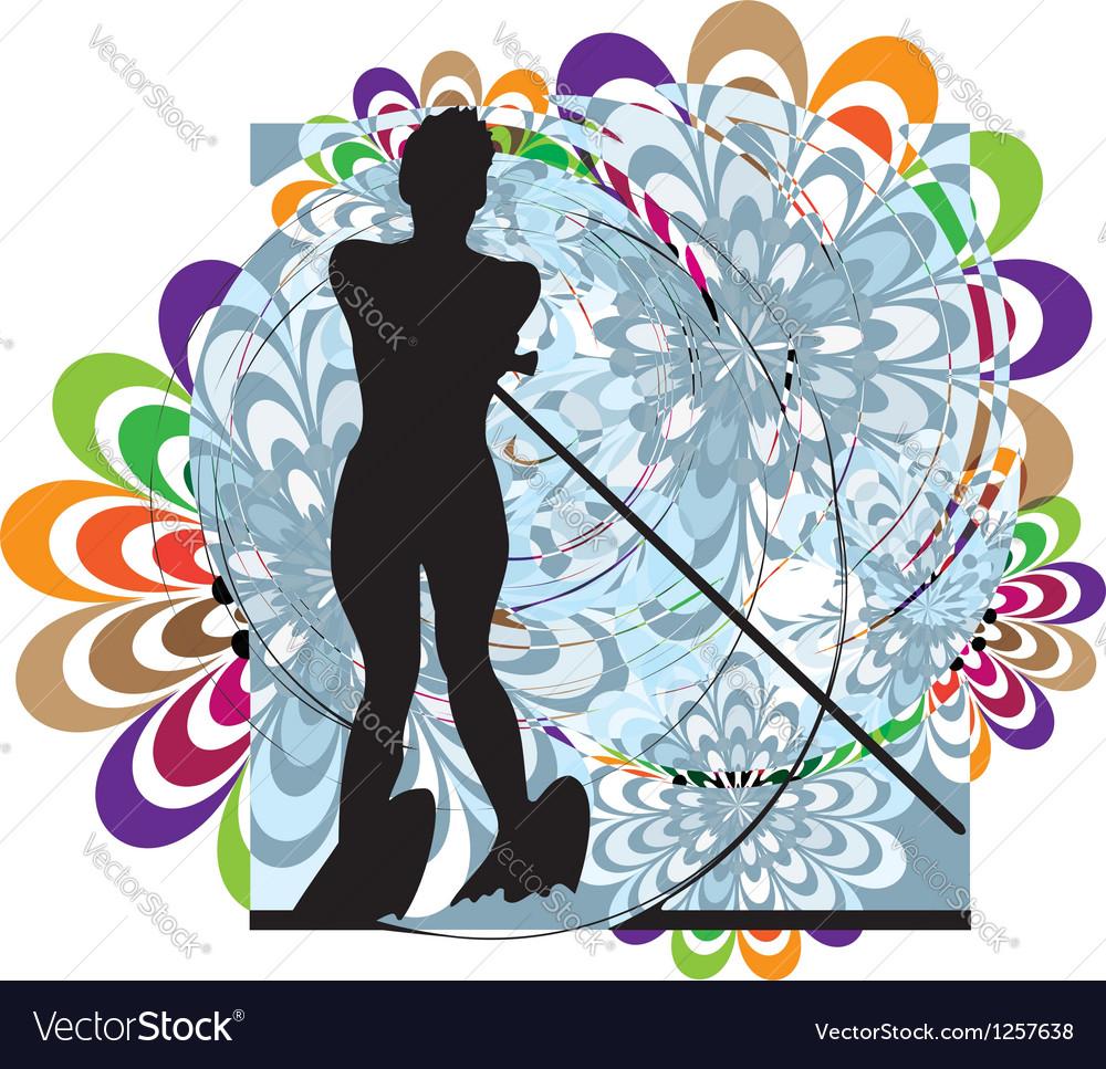 Water skiing woman vector